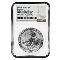 2018 Great Britain 1 oz Silver Britannia Coin NGC MS 68 Mint Error (Rev Struck