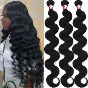 Brazilian Virgin 100% Human Hair Weaving Extensions 3Bundles 300g Body Wave US