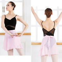 Women Kids Chiffon Ballet Wrap over Scarf Skirt Dance Leotard Tutu Dress Pro.