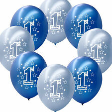 "10 Blue Boy's 1st Birthday Party Decoration Printed 11"" Latex Balloons"