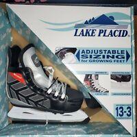 Lake Placid Red and Black Kids Adjustable Comfort Figure Ice Skates Sizes 13-3