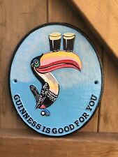 More details for cast iron guinness dublin flying toucan sign wall plaque hand painted guiness