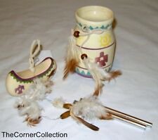 Dug Out Canoe 2-Note Windchime & Pencil Cup Vase - Both with Feathers #1