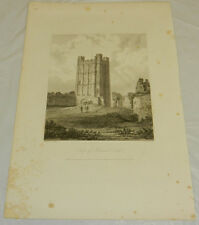 "1819 Antique Print/KEEP OF RICHMOND CASTLE, ENGLAND///13x19"""