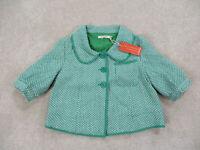 NEW Anthropologie Tullette Jacket Womens Medium Green White Crop Coat Ladies