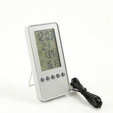 Digital Thermometer Innen und Außen Temperatur Uhr Wecker Datum silber