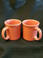 2 FIESTAWARE FLAMINGO PINK JAVA MUG COFFEE CUP FIESTA RETIRED SET LOT
