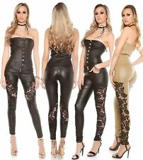 Sexy Koucla Lederlook Overall Jumpsuit Bandeau mit Stickerei