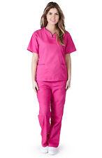 Medical Nursing NATURAL UNIFORMS Contrast SCALLOP Scrubs Set XS S M L XL Women