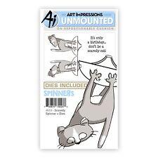 Art Impressions Rubber Stamp & Die Set  SCARDEY SPINNER & DIES - 3D-Cards -4819