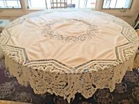 "BEAUTIFUL Antique White Battenberg Lace Hearts 74"" Round Tablecloth"
