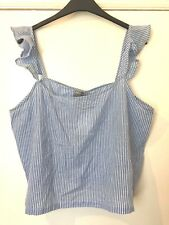 BNWT ASOS CURVE BLUE COTTON STRIPED RUFFLE CAMI PYJAMA PJ TOP SIZE 18-20 ♡♡♡