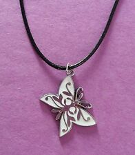 White & Silver Butterfly Pendant on a Black Cord Necklace - New