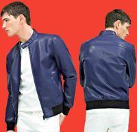 ZARA Blue Faux Leather Bomber Jacket Authentic Man Biker 0706/422 RRP GBP 69.99