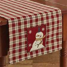 "RED and TAN SNOWMAN CHRISTMAS TABLE RUNNER 13"" x 36"" BY PARK DESIGNS"