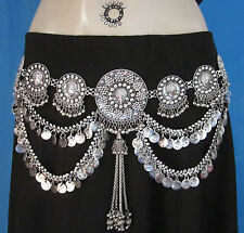 Vintage Tribal Fusion Ats Skirt Belly Dance BELT Coin Chain Metal Fringe Tassels