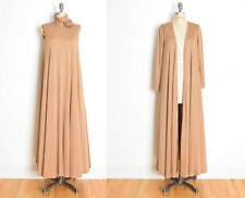 vintage 70s dress MISS ELLIETTE brown trapeze long maxi duster jacket set M L