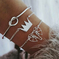 3pcs/set Elephant Crown Alloy Chain Bracelets Women Bangle Adjustable Jewelry