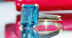 4Ct Emerald Blue Topaz Diamond Solitaire Engagement Ring 14K Yellow Gold Finish