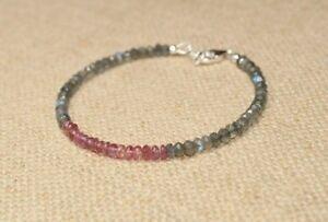 Natural Labradorite & Pink Tourmaline Gemstone Beaded Bracelet 925 Silver Clasp