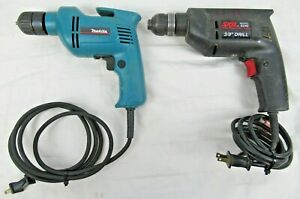 """Lot of (2) Made in U.S.A. 3/8"""" Electric Drills - Makita No. 6406 & Skil No. 6240"""
