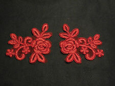 A Pair of Red floral lace Appliques / tulle lace motifs is for sale Sold by pair