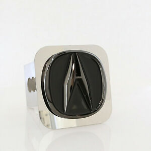 Acura Pearl Logo Tow Trailer Hitch Cover Plug (Black on Chrome)