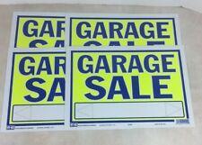 Garage Sale Signs 22404 Hy-Ko Lot Of 4 Plastic Neon Yellow Blue 9x13 Plastic