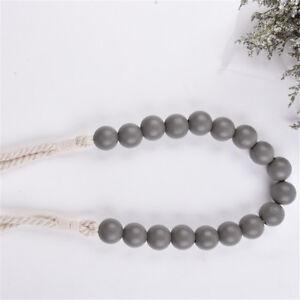 1 Pair Curtain Tiebacks Braided Rope Wood Beads Ornaments Drapery Holdbacks 80cm