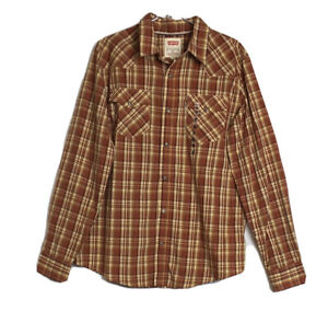 Levis Mens Snap Front Collared Shirt Orange Plaid Size M NWT