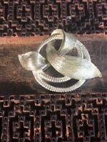 Vintage Usner Brooch Pin Silver Tone Twisted Floral Ribbon Design