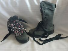 Gray Mid Calf Doc Martens Women's Size 8, Folds Over, Flowers, Combat Boots