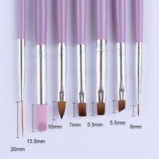 7Pc Nail Art Brush Paint Liner Gel Gradient Acrylic Pen Cuticle Remove Tools New