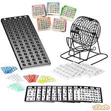 Bingo Spielset Bingotrommel Bingomühle Metall Kugeln Brett + 500 Bingokarten