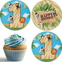 Eßbar Tier Safari Birthday Tortenaufleger Deko Geburtstag Muffinaufleger Party