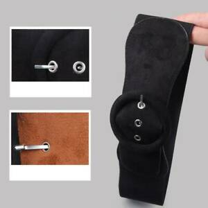 Womens Suede Metal  Button Buckle Wide  Elastic  Stretch Waist PU  Leather  Belt