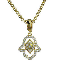 Hamsa Lucky Protection Pendant Necklace Gold or Silver Plated in Gift Box