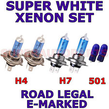 FITS  RENAULT MEGANE 2003-2005 SET H7 H4 501 HALOGEN XENON EFFECT LIGHT BULBS