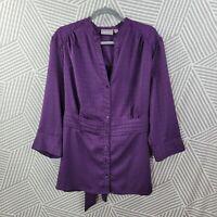 Croft Barrow Top Plus Size 2X 18/20 Blouse Shirt Satin Tie button up stretch