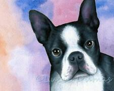 ACEO art print from art painting Dog 128 Boston Terrier by L.Dumas