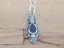 Sterling Silver/925 Onyx and Marcasite Pendant and Chain