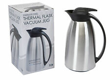 1 LITRE / 1L STAINLESS STEEL THERMAL FLASK/VACUUM JUG - KEEPS DRINKS HOT OR COLD