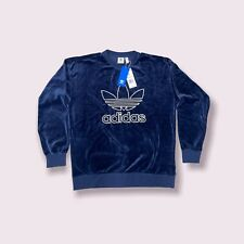 Adidas Originals Velvet Velour Navy Blue Sweatshirt Crew Women's Small Medium