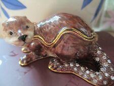"River Otter "" Otto "" Bejeweled Enamel Trinket Box 3841"
