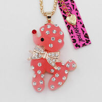 DOG POODLE PINK, crystal Pendant Sweater Chain Necklace  30 inch