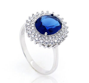 STERLING SILVER CZ RING LADIES OVAL SAPPHIRE BLUE CUBIC ZIRCONIA HALO CLUSTER