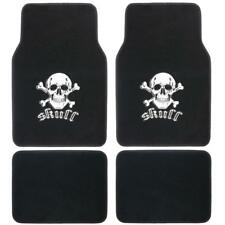 White Skull Design Car Carpet Floor Mats Comfortable Front & Rear Set 4 PC