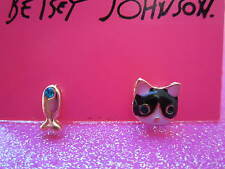 Betsey Johnson Cat & Fish Stud Earrings