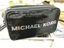 Michael Kors Kenly Sequin Small Double Zip Camera Crossbody Bag Msrp 328 Black