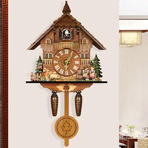Vintage Antique Wooden Cuckoo Wall Clock Hanging Clock Bedroom Living Room Decor